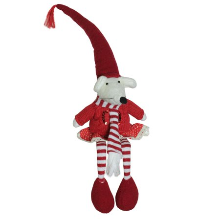 """15"""" Plush Red and White Striped Sitting Christmas Girl Mouse with Heart Decoration - image 1 de 1"""