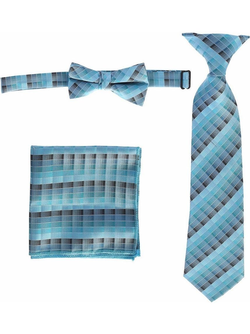 Boys Teal Plaid Striped Tie Bow Tie Pocket Square 3 Pc Accessory Set