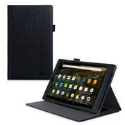 Fire HD 10 Case, roocase Dual View Fire HD 10 PU Leather Folio Case Cover Stand for All-New Amazon Fire HD 10 Tablet (2015), Black