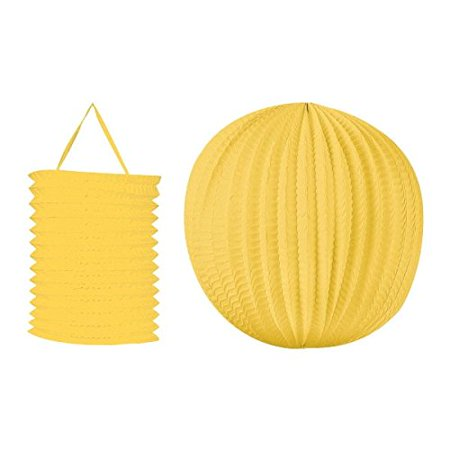 Sun-Sational Summer Luau Party Yellow Round and Cylindrical Lanterns Decorations, Paper, Pack of 2 - Summer Party Decorations