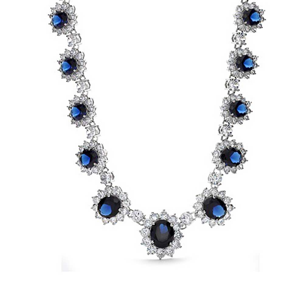 Bling Jewelry Blue Simulated Sapphire Cubic Zirconia Crown Necklace Rhodium Plated by Bling Jewelry