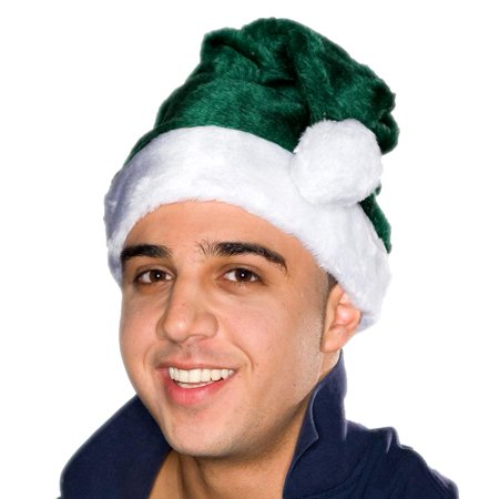 Adult Green Plush Santa Hat - Green Santa Hats