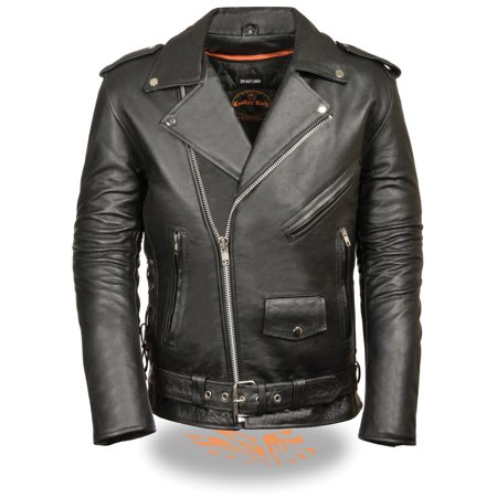 Mens Leather Side Lace Police Style Motorcycle Jacket Tall by