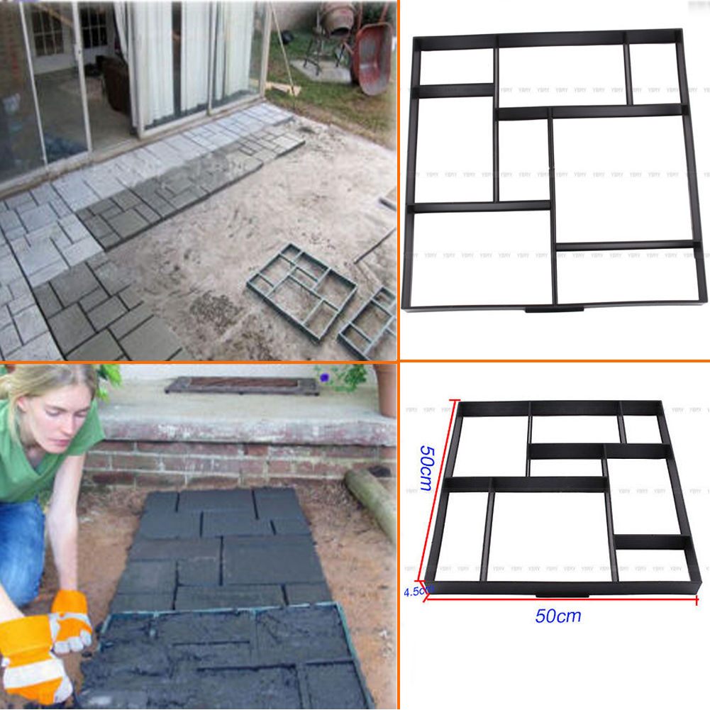 Garden Driveway Paving Pavement Mold Concrete Stepping Stone Path Walk Maker US