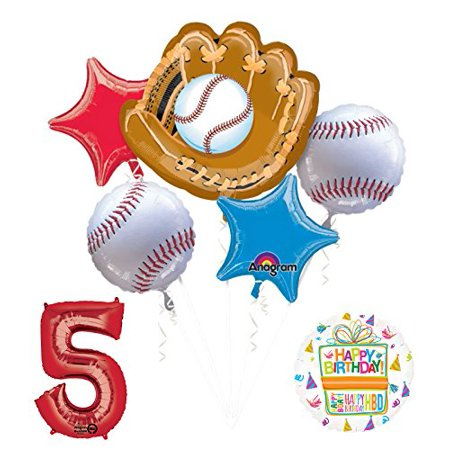 Baseball 5th Birthday Party Supplies and Balloon Bouquet Decorations