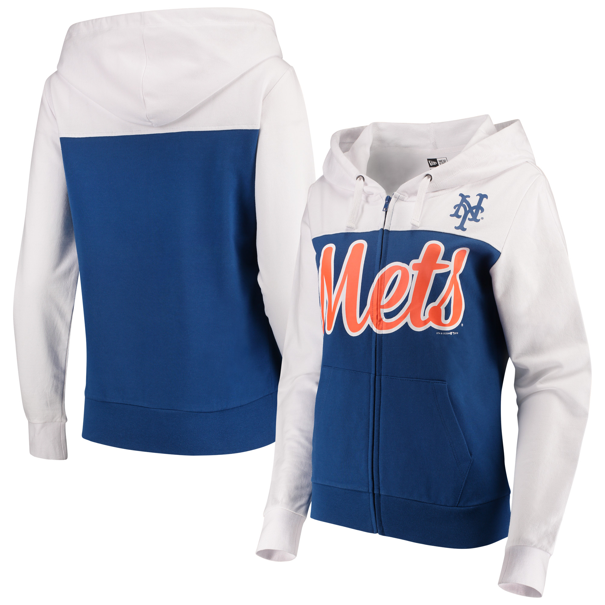 New York Mets 5th & Ocean by New Era Women's French Terry Color Block Full-Zip Hoodie - Royal/White