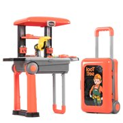 Fondear Tool Toy Play Set / Tool Bench Building Toy / Tool Toy Box with Workbench for Kids / Funny Toy Set with Construction Tools (Black & Orange)