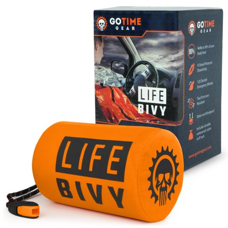Life Bivy Emergency Sleeping Bag Thermal Bivvy - Use as Emergency Bivy Bag, Survival Sleeping Bag, Mylar Emergency Blanket, Survival Gear - Includes Nylon Sack with Survival Whistle + Paracord String - Emergency Bivvy Sack