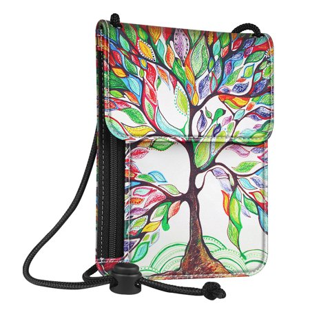 Passport Holder Neck Pouch [RFID Blocking] Premium PU Leather Travel Wallet, Love Tree