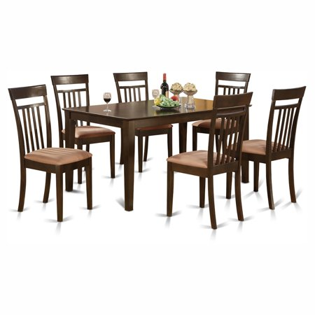 East West Furniture Capri 7 Piece Rectangular Dining Table Set with Microfiber Seat Chairs