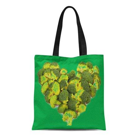 ASHLEIGH Canvas Tote Bag Vegetables Broccoli Heart Reusable Healthy Food Shaped Organic Local Reusable Handbag Shoulder Grocery Shopping Bags ()