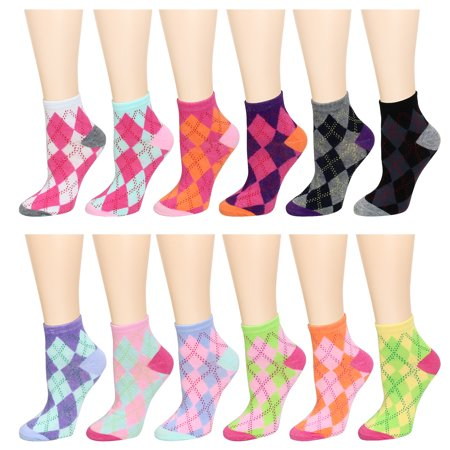 12 Pairs Assorted Colors Women's Ankle Socks Size 9-11 Argyle