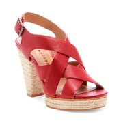 Lucky Brand CABINO Heeled Sandal Garnet Red Leather Open Toe Block Heel Pumps