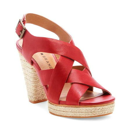 Lucky Brand CABINO Heeled Sandal Garnet Red Leather Open Toe Block Heel Pumps Leather Pull On Heels