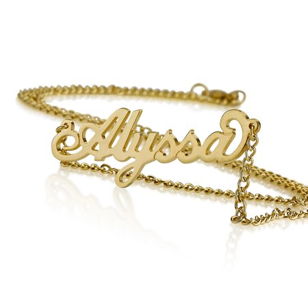 Personalized Name Necklace 18k Gold over Brass Custom Made Any Name Custom Made Body Jewelry