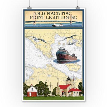 Mackinac Point Lighthouse - Mackinac, Michigan - Old Mackinac Point Lighthouse - Nautical Chart - Lantern Press Artwork (9x12 Art Print, Wall Decor Travel Poster)