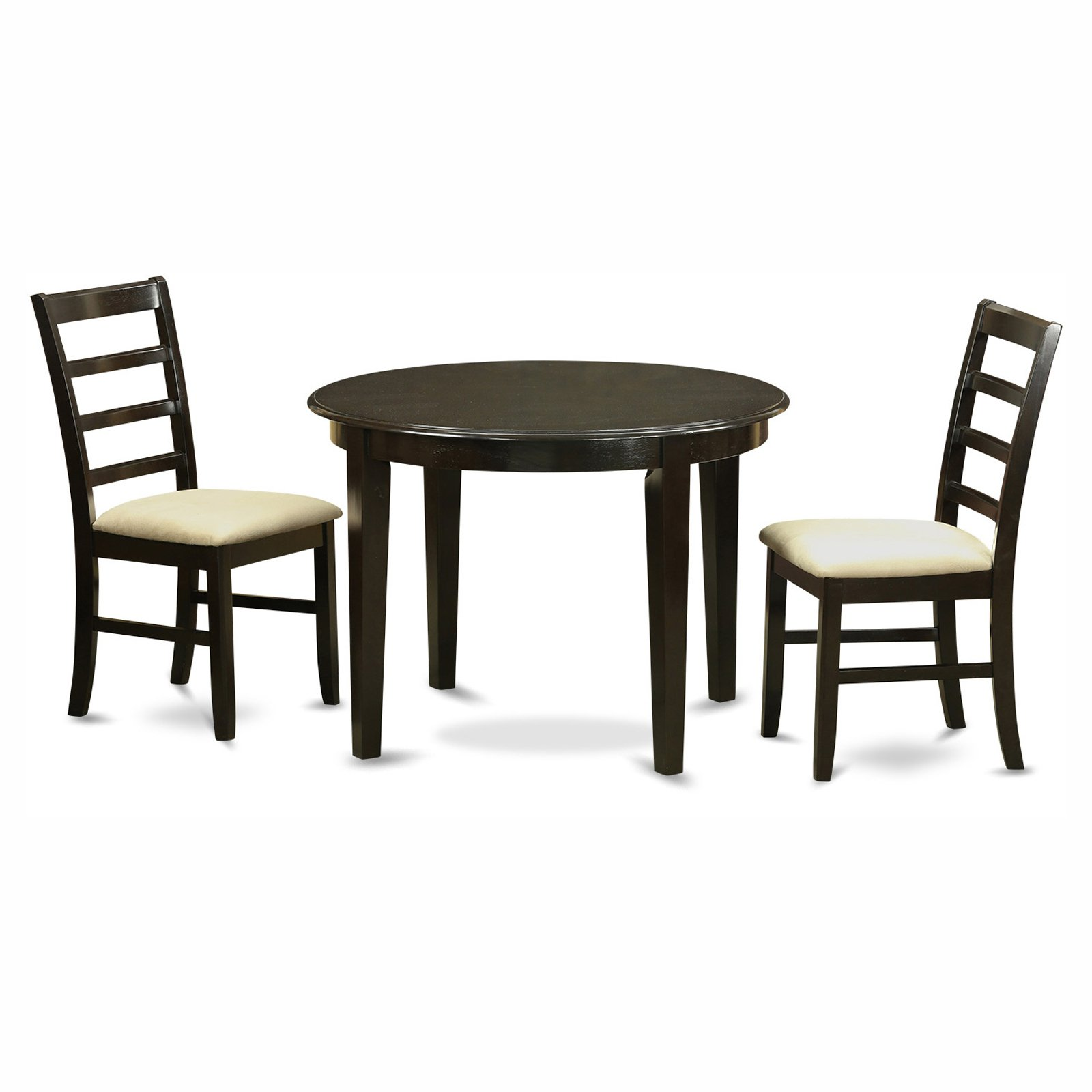 East West Furniture Boston 3 Piece Round Dining Table Set with Parfait Microfiber Seat Chairs