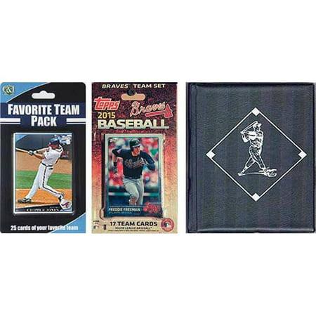 C&I Collectables MLB Atlanta Braves Licensed 2015 Topps Team Set and Favorite Player Trading Cards Plus Storage Album ()