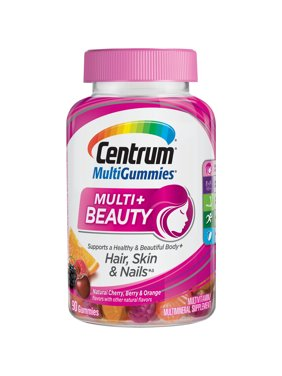 Centrum Adult MultiGummies Multi + Beauty (90 Count, Naturel Cherry, Berry, Orange Flavors) Multivitamins/Multimineral Supplement Gummy, Vitamins D3, B and Antioxidants