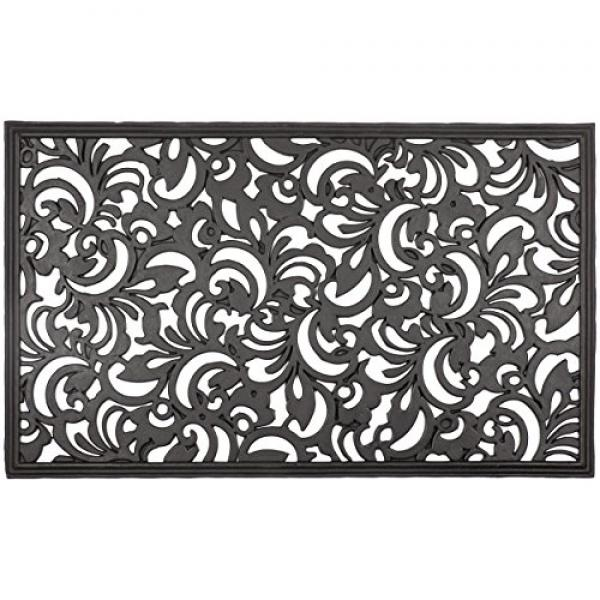 Entryways Scroll Flowers Recycled Rubber Doormat