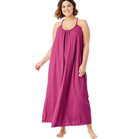4914eb44e Dreams   Co. Plus Size Breezy Eyelet Knit Long Nightgown - Walmart.com