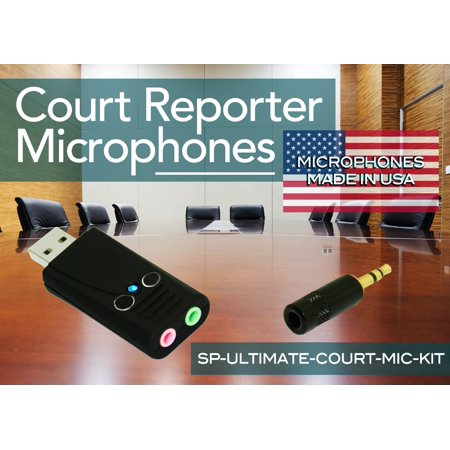 SP-ULTIMATE-COURT-MIC-KIT - Sound Professionals  - Get the best of both together and save! Ultimate Court Reporter package includes the SP-USB-MIC-MODEL-6 or 6+ USB mic & MS-MMM-1 UHS Steno writer
