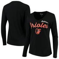 Baltimore Orioles G-III 4Her by Carl Banks Women's Preseason Long Sleeve V-Neck T-Shirt - Black
