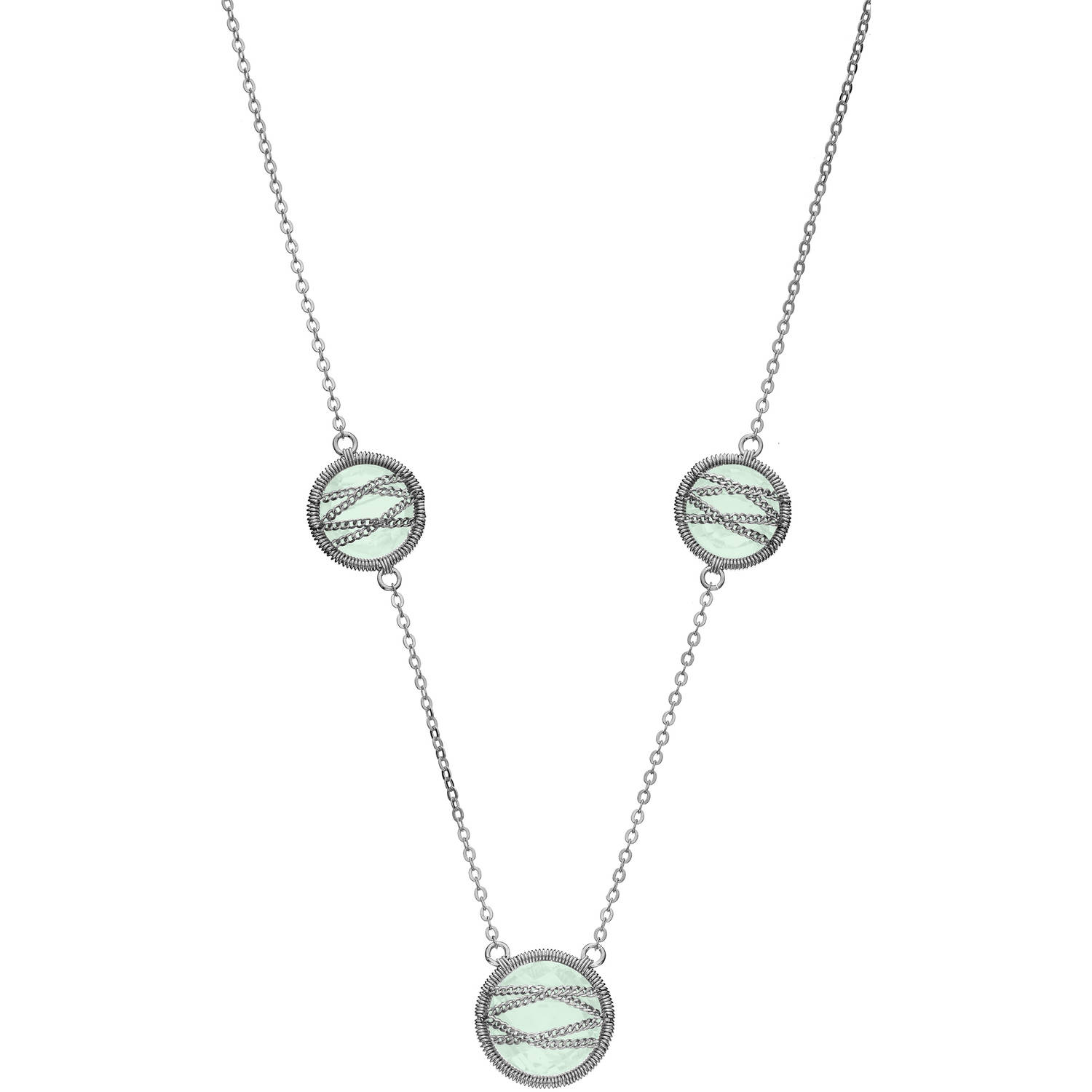 5th & Main Sterling Silver Hand-Wrapped Triple Round Chalcedony Stone Necklace by Generic