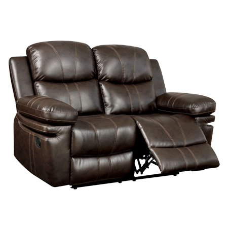 Tri Tone Leather Loveseat - Furniture Of America Listowel Brown Tone Bonded Leather Match Recliner Loveseat
