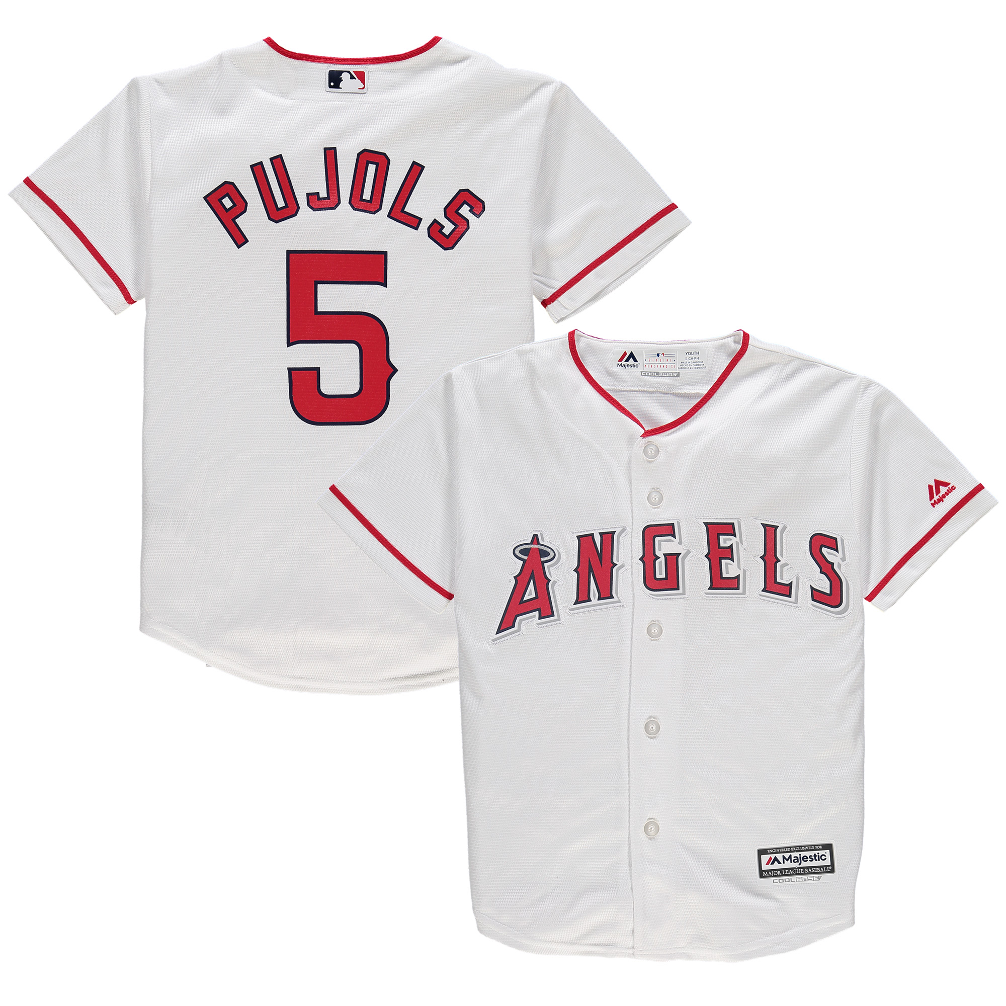 Albert Pujols Majestic Youth Official Cool Base Player Jersey - White