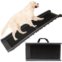 Foldable Lightweight Pet Travel Ramp with Carry Handles for Dogs Cats, Perfect for Cars, Vans, SUVs, Trucks, Automobiles - Supports Over 150lbs Includes High Traction Non-Slip Incline (Rubber Grip)