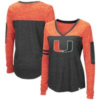 Miami Hurricanes Colosseum Women's Stance Sleeve Stripe Patch Long Sleeve T-Shirt - Heathered Black