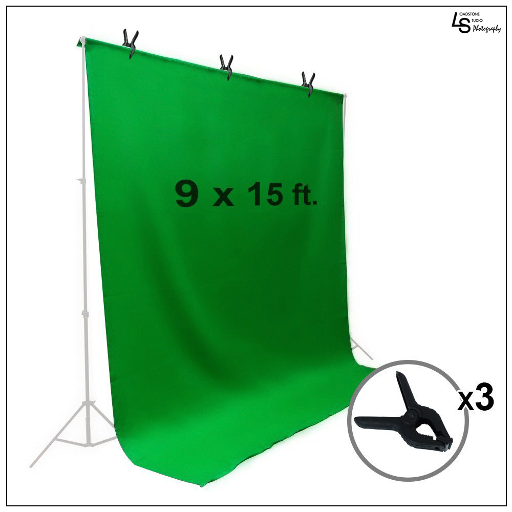 Loadstone Studio 9 x 15 ft. Green Chromakey Muslin Backdrop Background Screen for Photo Video Studio, 3 x Backdrop Clamp, WMLS1410