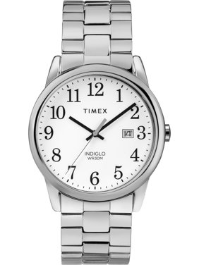 Men's Easy Reader Silver-Tone/White Watch, Stainless Steel Expansion Band