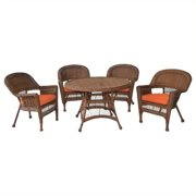 Jeco 5 Piece Wicker Patio Dining Set in Honey and Orange