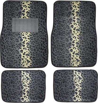 A Set of 4 Universal Fit Animal Print Carpet Floor Mats for Cars / Truck - Gray Snow Leopard