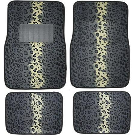 Carpet Floor Mats >> A Set Of 4 Universal Fit Animal Print Carpet Floor Mats For Cars Truck Gray Snow Leopard