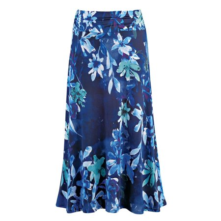 Darling Floral Skirt - Women's Dressy/Casual Floral Print Maxi Skirt with Elastic Waist, Large, Blue Multi