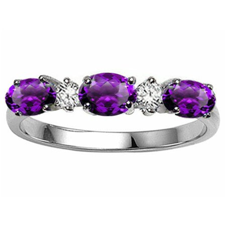 (Tommaso Design Genuine Amethyst 3 Stone Ring)