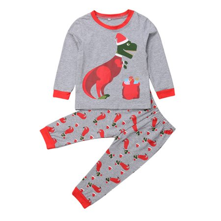 Baby Kids Dinosaur Christmas Pajama Set Long Sleeve T-shirt with Pant Sleepwear 6 Year](Christmas Pajamas Baby)