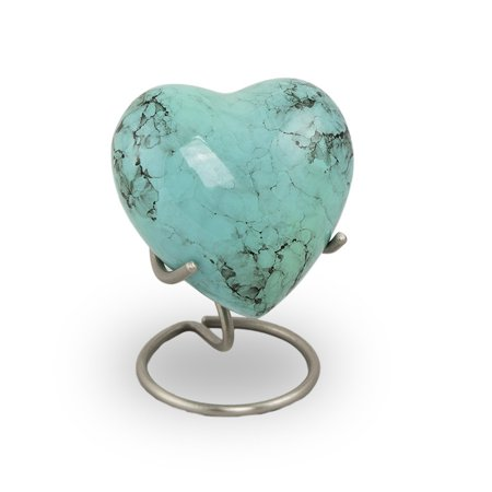 Bronze Cremation Keepsake Heart - Extra Small 3 Pounds - Turquoise Stone Blue  - Engraving Sold Separately ()