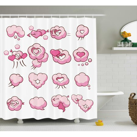 Girly Decor Shower Curtain Cute Heart Fluffy Valentine Clouds Cupid Love Romantic Theme Graphic Art