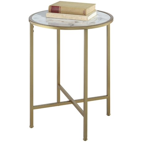 convenience concepts gold coast round faux marble top end table. Black Bedroom Furniture Sets. Home Design Ideas