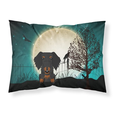 Halloween Scary Wire Haired Dachshund Black Tan Fabric Standard Pillowcase BB2317PILLOWCASE (Hair Raising Halloween Fabric)
