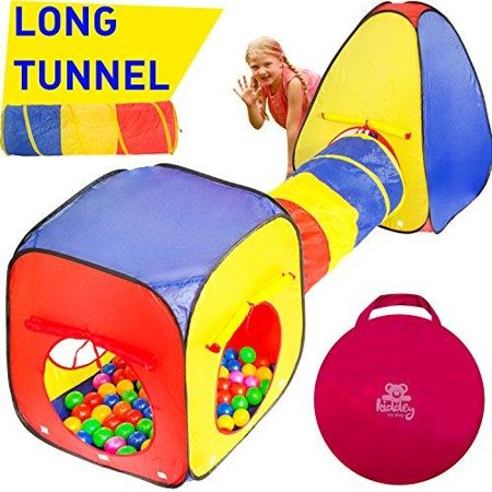 Kiddey 3pc Kids Play Tent Crawl Tunnel And Ball Pit Set â Durable Pop Up