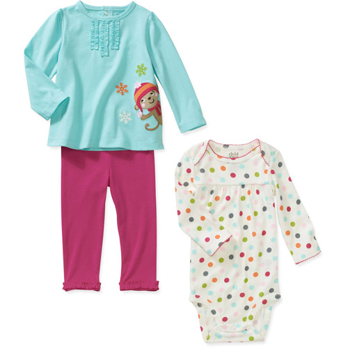 Child of Mine Carters Newborn Girls' 3-Piece Monkey Dot Print Set