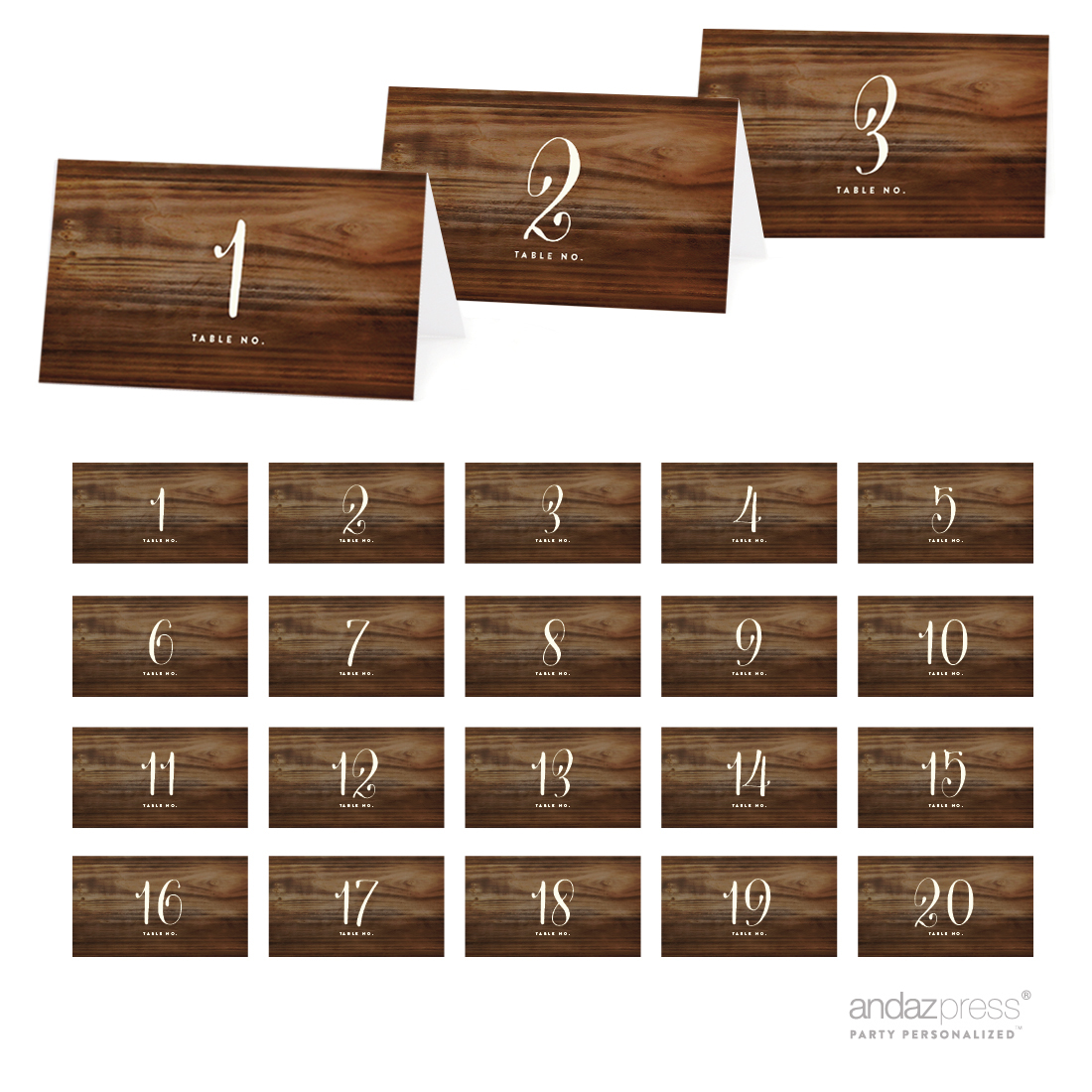 42389 Rustic Wood Table Tent Place Cards, 20-Pack