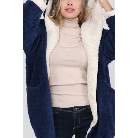 Women reversible Teddy Sherpa Hoodie Jacket Cardigan Sweater - Women faux fur coats Sherpa Reversible Jacket