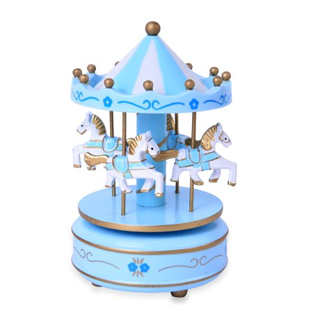 Blue and White 4-Horse Wooden Carousel Music Box 4x4x7