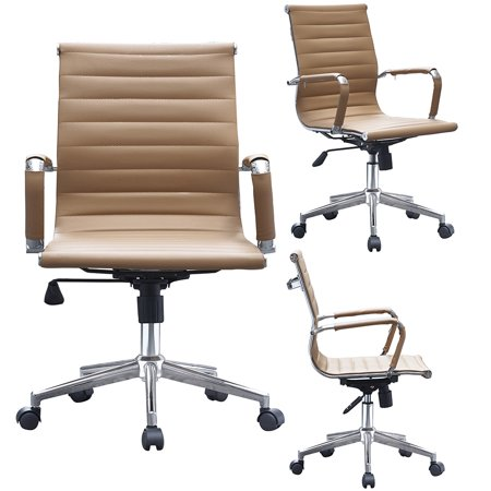 2xhome Brown Ergonomic Executive Chair Mid back PU Leather Arm Rest Tilt Adjustable Height With Wheels Arms Ergonomic Swivel Task Lumbar Support Mid (Leather Chair Swivel White Seat)